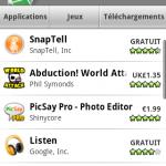 Le nouveau visage d'Android Market sur Donut en photos et vidéo
