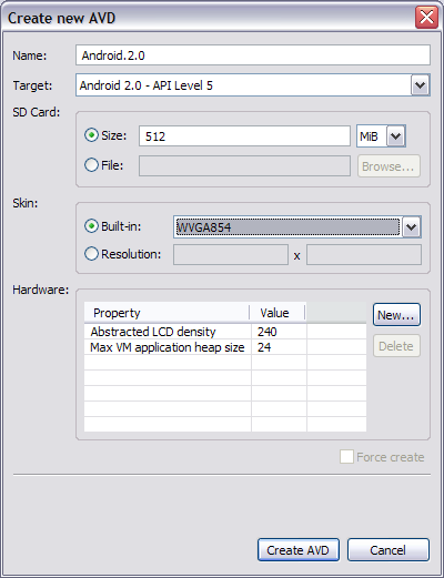 These are the settings to emulate the Moto Droid.
