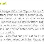 Archos 5 Internet Tablet – Mise à jour du firmware en 1.4.09