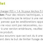 Archos 5 Internet Tablet – Mise à jour du firmware en 1.4.16