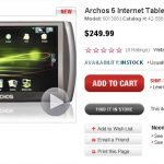 La tablette tactile Archos 5 Internet Tablet en 8 gigas disponible chez Radioshak