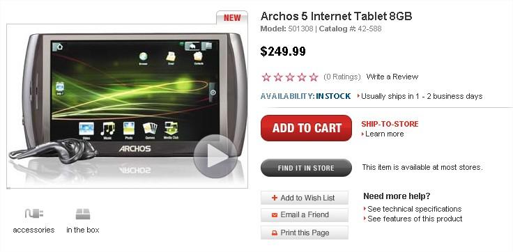 Archos 5 Internet Tablet 8GB - RadioShack.com - Mozilla Firefox