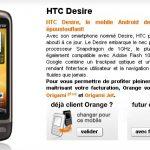 HTC Desire – Disponible sur la boutique en ligne d'Orange