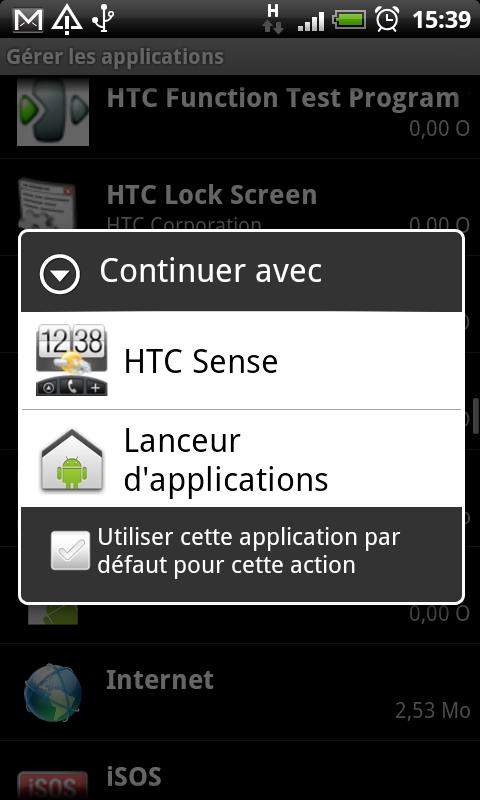 HTC Desire - Désactiver l'interface HTC Sense