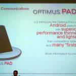 LG Optimus Pad -Tegra 2 et Honeycomb pour début 2011