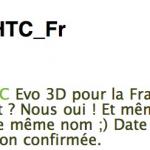 HTC Evo 3D – Confirmé pour la France