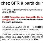 HTC Sensation – Disponible demain 19 mai chez SFR