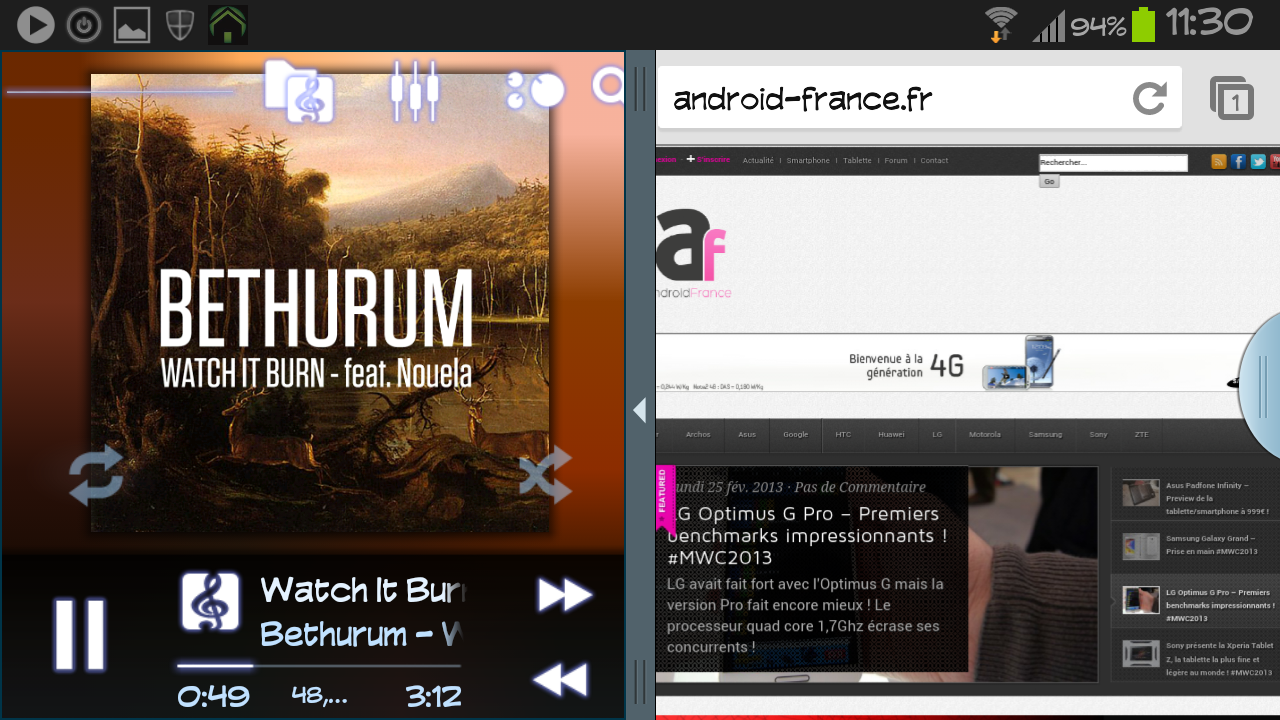 Poweramp le lecteur de musique supporte maintenant le for Multi fenetre android