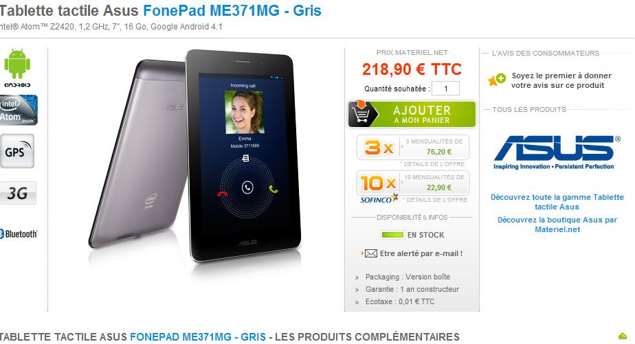 Le Asus Fonepad en vente chez Materiel.net - Android-France