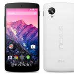 Le Nexus 5 en blanc (et noir) disponible le 1er Novembre d'après @evleaks