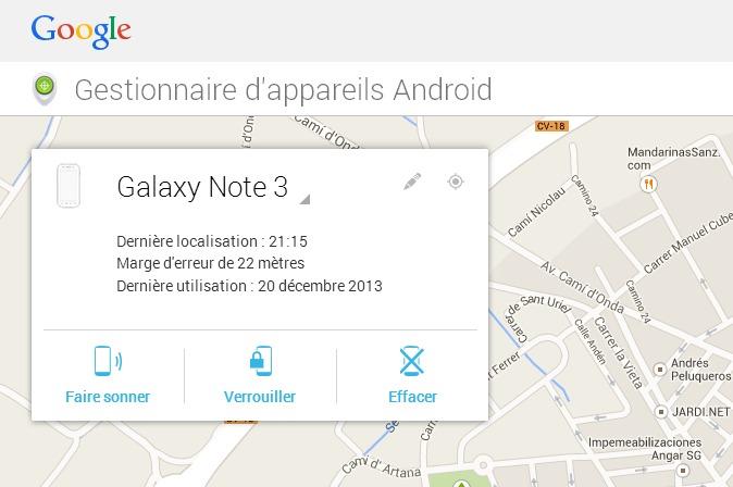 Gestionnaire d appareils Android