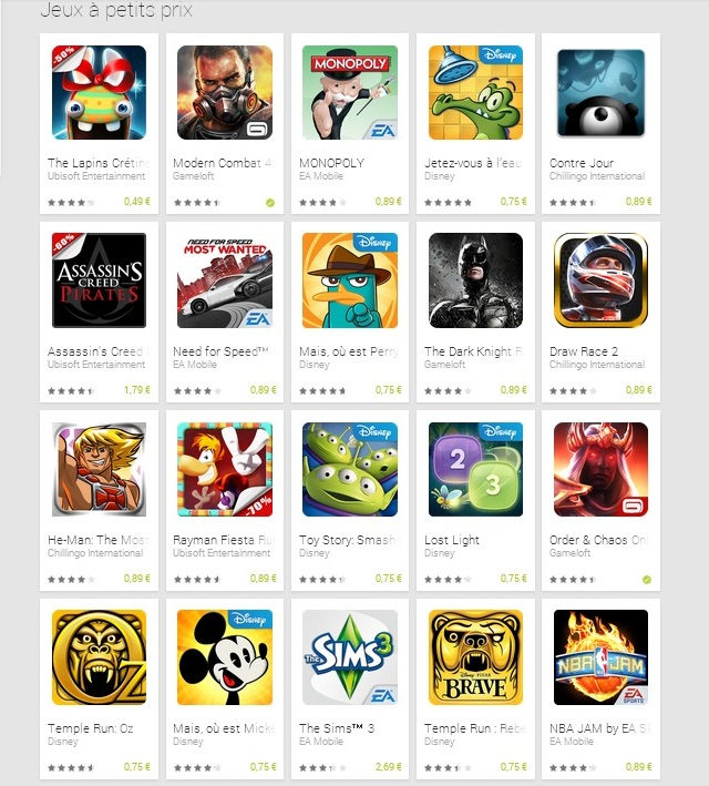Jeux à petits prix   Applications Android sur GooglePlay