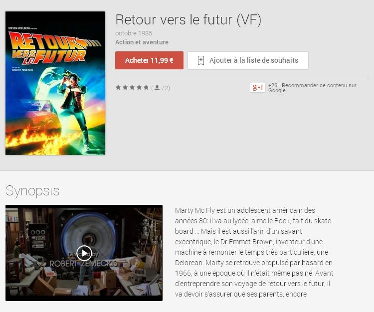 Retour vers le futur  VF    Films sur GooglePlay
