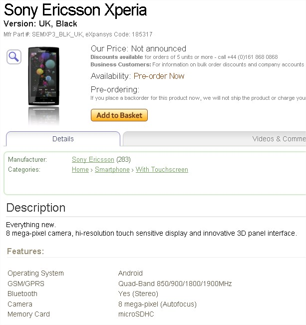 Buy a Sony Ericsson Xperia (UK, Black), #SEMXP3_BLK_UK - eXpansys UK - Mozilla Firefox