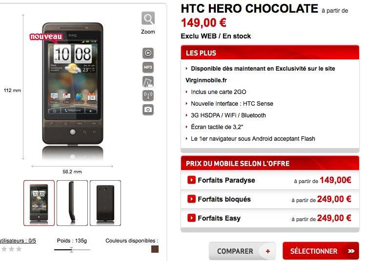 Détail du téléphone mobile HTC HTC HERO CHOCOLATE - Virgin Mobile_1248524790380