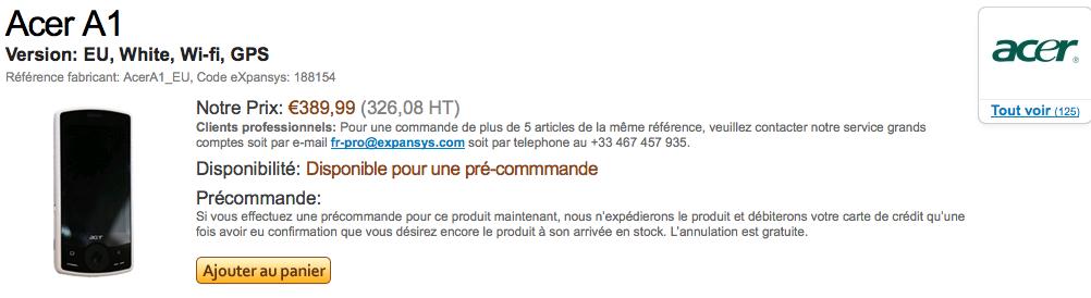 Acer A1 (EU, White, Wi-fi, GPS), #AcerA1_EU - eXpansys France_1254006218916