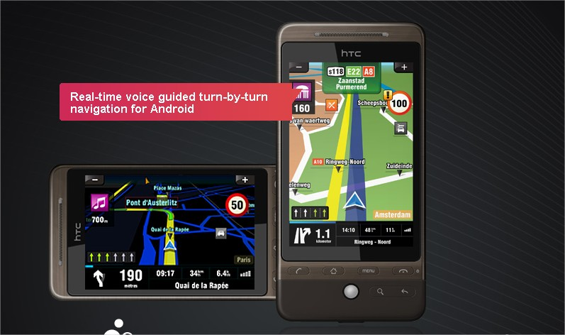 Sygic turn-by-turn voice guided navigation running on Googles Android - Mozilla Firefox