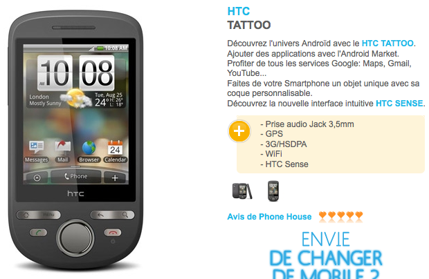The Phone House - Tous les mobiles - HTC TATTOO_1253959125324