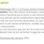 Archos 5 Internet Tablet – Mise à jour du firmware en 1.1.01