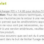 Archos 5 Internet Tablet – Mise à jour du firmware en 1.4.08