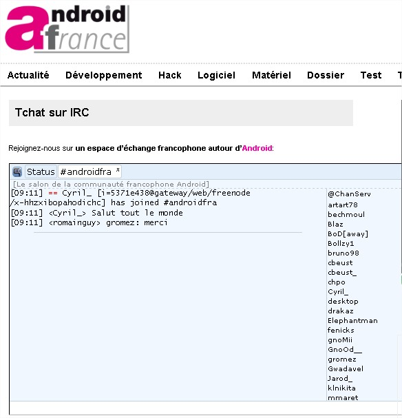 Le Webzine Android-France sur IRC  Android-France - Mozilla Firefox