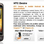 HTC Desire – Disponible sur la boutique en ligne d'Orange