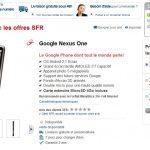 Nexus One – fiche produit disponible sur le site SFR