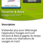 Horaires et Résa – L'application de Voyages-sncf.com disponible sur Android Market