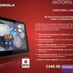 Motorola Xoom – Le prix de la version WIFI