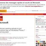 Microsoft annonce la possibilité d'installer des applications Android sur Windows Phone 7