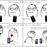 Android vs Apple : la rencontre dans le métro