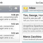Ice Cream Sandwich – Des captures d'écran de Gmail, Mail et Agenda