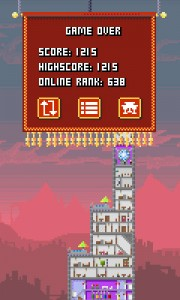 Game over Pixels Tower