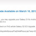Samsung Galaxy S2 – Mise à jour vers Ice Cream Sandwich à partir du 10 mars ! (MAJ)