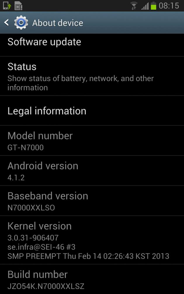 MAJ Samsung Galaxy Note Android 4.1.2