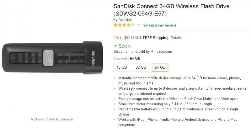 Amazon.com  SanDisk Connect 64GB Wireless Flash Drive  SDWS2 064G E57   Computers   Accessories