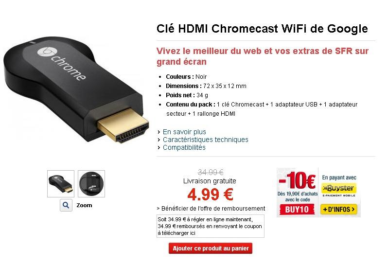 Objet connecté GOOGLE CHROMECAST  Clé HDMI Chromecast WiFi de Google