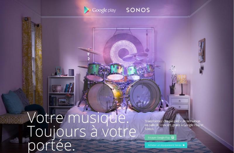 Votre musique. Amplifiée. Grâce à GooglePlay et Sonos(1)