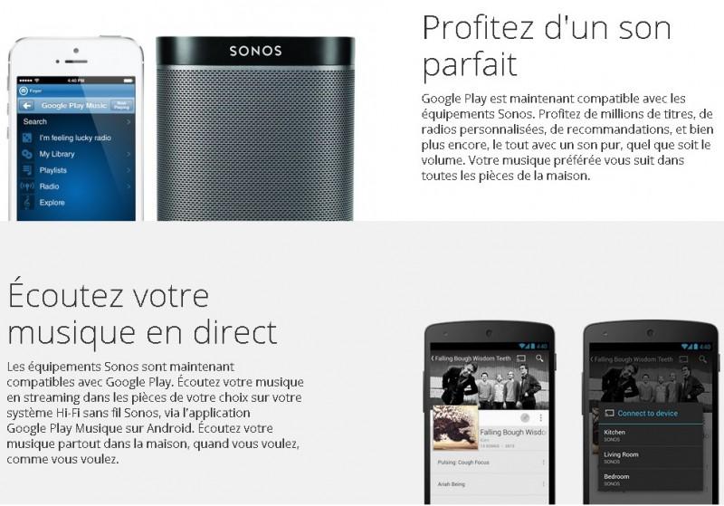 Votre musique. Amplifiée. Grâce à GooglePlay et Sonos(2)