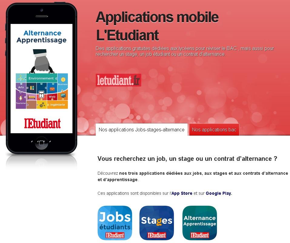 Applications mobile L'Etudiant  applis iPhone  iPad pour étudiants