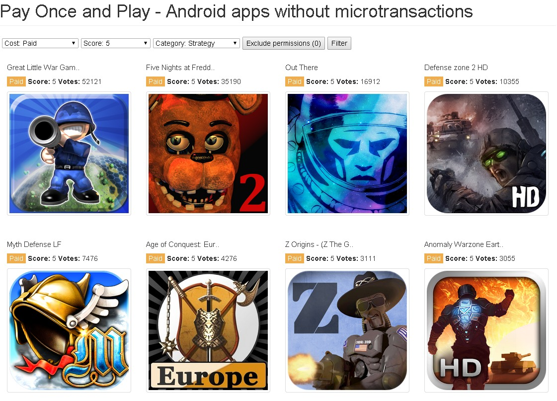 PayOnceAndPlay.com   Android apps without microtransactions