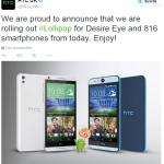 HTC annonce le déploiement d'Android 5.0 sur Desire Eye et Desire 816