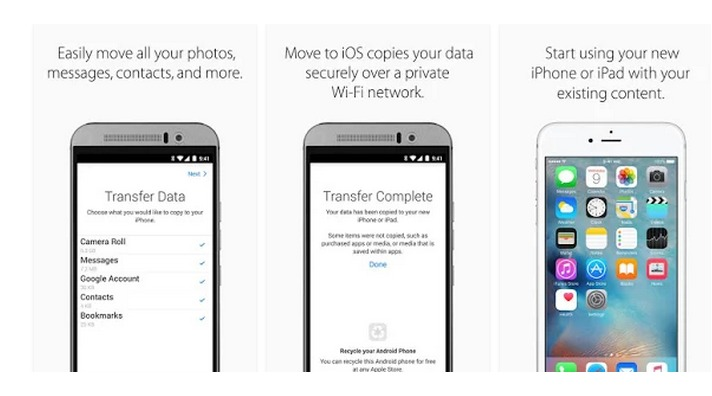 Move to iOS – Applications Android sur GooglePlay